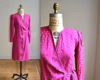 SALE Vintage Silk Wrap Dress Size Medium in Pink Magenta // Vintage Bright PInk Silk Wrap Dress Size Medium Polka Dot Pink Silk Dress