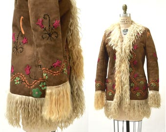 Vintage Embroidered Shearling Afghan Jacket Coat Medium//  70s Shearling Coat Embroidered Sheepskin Fur Boho Afghan Jacket By Yaqub