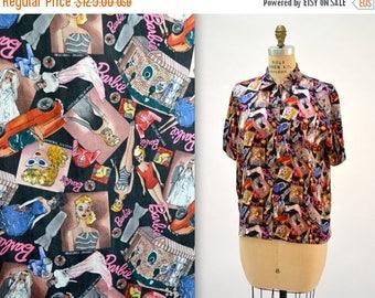 SALE 90s Vintage Nicole Miller Silk BARBIE doll Shirt Size Large Fashion Print