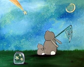 Original Nursery Wall Art Bunny Rabbit Star Catching Starry Night Sky Painting Whimsical Cute Childrens Decor Kids Playroom Artwork