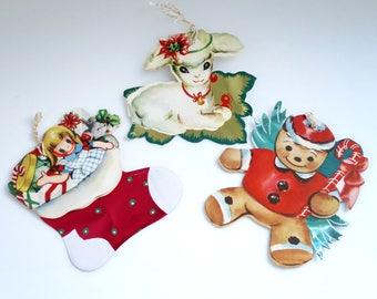 Christmas Card Ornaments, 3 Brilliants Die Cut Foil Ornaments, Die Cut Angel Ornament, Holiday Card Ornaments, Vintage Angel, Christmas Card