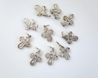 Vintage Silver Catholic Cross Pendant, Miraculous 4 way Cross Charms, Scapular Cross, Scapular Medal, Catholic Jewelry, Religious Jewelry