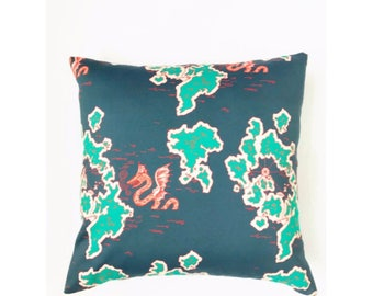 Whale Map Pillow Cover
