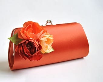 Burnt orange clutch with shades of orange flowers - Fall wedding - Bridal Clutch / Bridesmaid clutch / Prom clutch / Custom clutch
