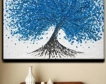 SALE SALE Painting Large Tree Oil Impasto Ready Original Abstract Texture Blue Aqua White Floral Tree Sculpture Knife Painting by Je Hlobik