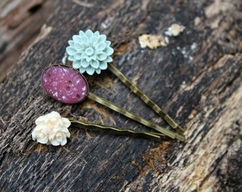 Mediano Flower Bobby Pin Trio - Medium
