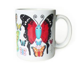 "Mug ceramic mug ""Butterflies"" multicolored, wife, daughter gift idea"