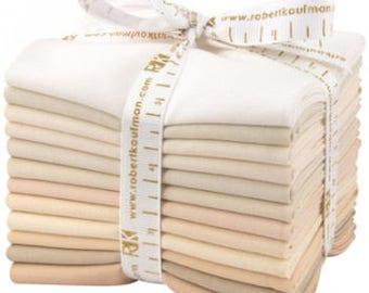 Kona Cotton Fat Quarter Bundle, NOT QUITE WHITE, Low Volume Fat Quarters, Kona Cotton Solid Fabric, Beige Quilt Fabric, Cotton Fabric 12 pcs