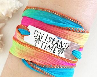 On Island Time, Island Girl, Island Gifts, Coastal Jewelry, Coastal Bracelet, Beach Boho, Wrap Bracelet