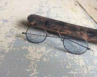 ANTIQUE Wire Frame Spectacles - leather case - Vintage Eyeglasses - 1920s
