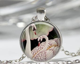 ON SALE White Swan Necklace Bird Jewelry Ugly Duckling Romantic Swans Art Pendant in Bronze or Silver with Link Chain Included