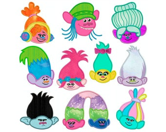 TROLLS - Machine Applique Embroidery - 10 Patterns in 4 Sizes - Instant Digital Download