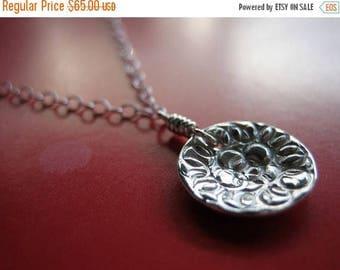 SALE Tiny Damask Rose Sterling Silver Necklace