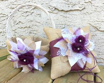 Plum Ring Pillow, Plum Flower Girl Basket, Plum Ring Bearer Pillow and Flower Girl Basket, Plum Wedding, Purple Ring Pillow Flower Girl Pail