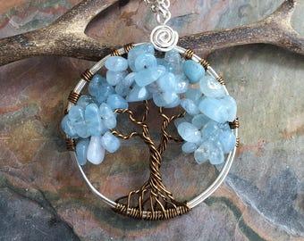 Aquamarine Tree of Life Necklace,Tree of Necklace,Wire Wrapped Aquamarine Tree of Life Pendant,Wired Tree of Life Jewelry,March Birthstone