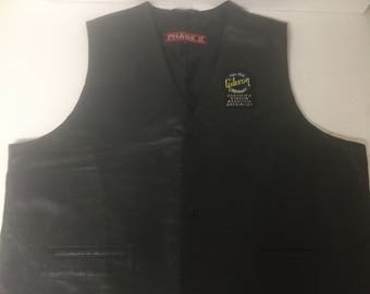 Vintage Black Leather Vest from Gibson Guitar 2XL