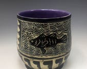 Fish Sgraffito cup, Tea Bowl, Wine Cup, Offering Bowl in Purple