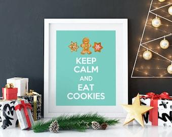 Keep Calm, Christmas Printable Wall Art, Christmas Cookies, Christmas Wall Art, Festive Home Decor, Teal, White, 8x10 - INSTANT DOWNLOAD