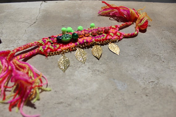 SALE Boho cuff , boho bracelet bracelet pom pons