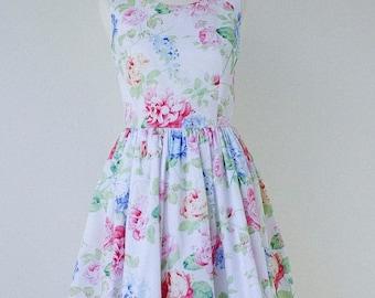 On Sale Floral bridesmaid dress, cotton bridesmaid dress, floral dress, vintage inspired dress - Size 6