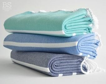 NEW / SALE 50 OFF/ BathStyle / Mint - Blue - Navy / Turkish Beach Bath Towel / Wedding Gift, Spa, Swim, Pool Towels and Pareo