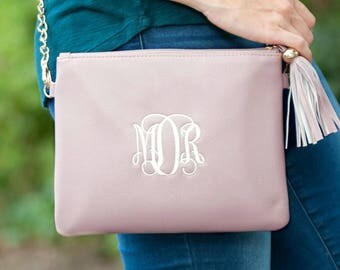 Monogrammed purse, ladies handbag, monogrammed vegan leather purse, tassel purse, black purse, brown purse, blush purse, bridesmaid gift