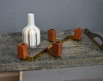 Vintage Teak Candlesticks Gold Mantle Shelf Decor Danish Modern Bangkok Lindholm Finland Candle Holders Brass Stamped Brown Wood Mid Century