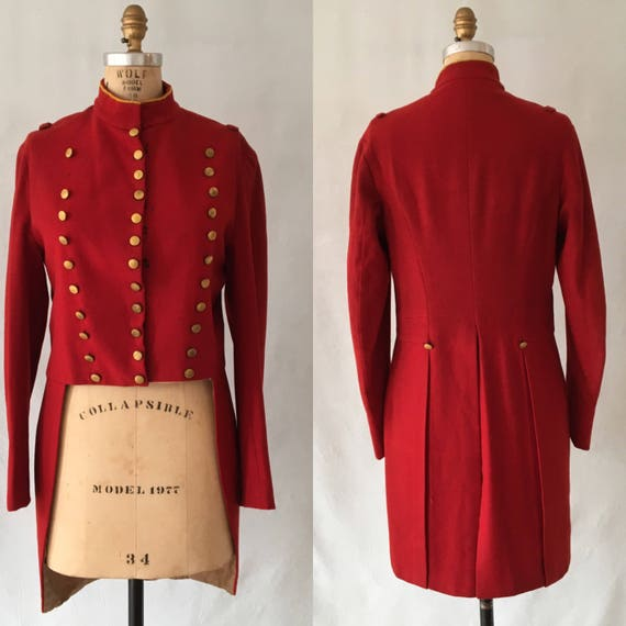 Early 1900s Red Military Band Jacket Tailcoat, buttons dated 1918