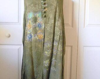 Vintage Bohemian Batik dress with attached flowy Vest