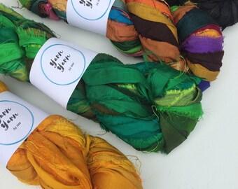 Silk sari ribbon, bright fuchsia pink, recycled yarn, eco friendly yarn, craft ribbon, knitting ribbon, jewelry making. 4 x 100g