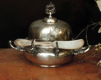 Antique / Vintage Silver Plate Victorian Butter Dish and Cloche  / Cheese Dish / Silver Plate Butter Knife