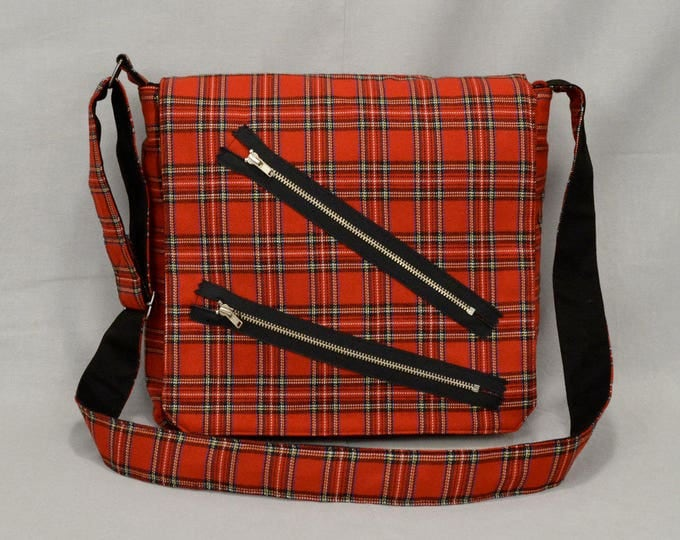 Punk Red Plaid Medium Size Messenger Bag, Bondage Pants Style with Zippers, Tablet and Phone Pockets, Ready To Ship