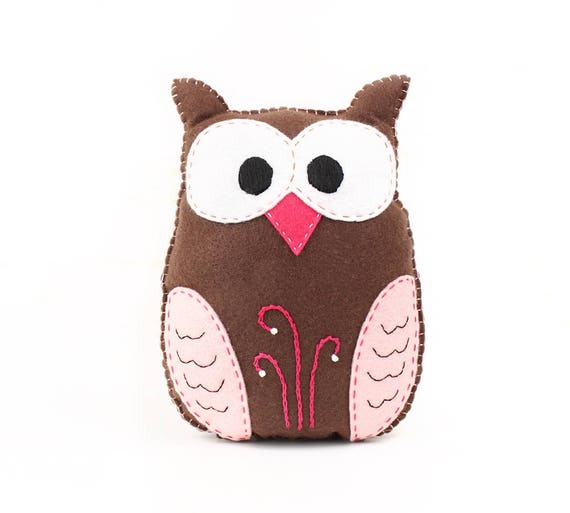 Stuffed Owl Sewing Pattern Felt Owl Plush Softie Woodland