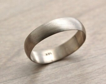 White Gold Men's Wedding Band, 5mm Brushed Half Round 14k Recycled Palladium White Gold Wedding Ring  -  Made in Your Size