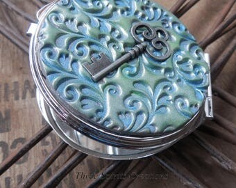 Compact Mirror Embellished,  Vintage theme compact mirror, Gorgeous blue and cilver compact,  Victorian compact mirror,  Hand made compact
