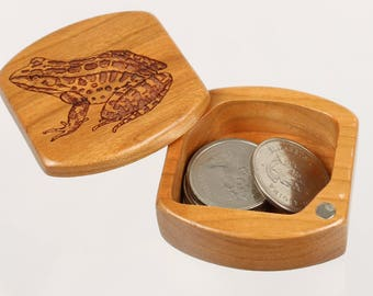 """Frog Wooden Box, Solid Cherry, Pattern MS25 Frog, 1-3/4""""L x 1-7/8""""W x 7/8""""D, Masterpiece Laser"""