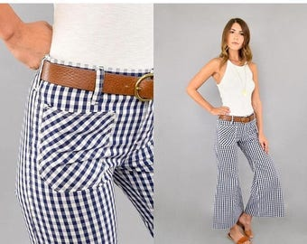 SUMMER SALE 70's Gingham Bell Bottom Flares