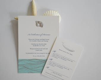 Shell waves Foil Wedding Invitation, Pocketfold invitation, nautical invitation, beach invitation, cape cod invitation