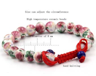8mm Pink Flower Ceramics Porcelain Beads Tibet Buddhist Wrist Mala Bracelet For Meditation  T2718
