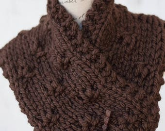 Chunky Knit Neckwarmer - Brown Hand Knit Floral Textured Cowl - Unique Women's Knitwear