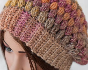 Crochet Puff Stitch Beanie - Slouchy Puff Stitch Hat - Chunky Puff Stitch Beanie - Multicolored Slouchy Hat - Slouchy Wool Hat