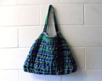Blue and Green Hand Knitted Tote Bag, Multi Coloured Handbag