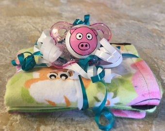 Polly The Pig Farm Animal Green Reversible Burp Cloth & Pacifier Gift Set by PiquantDesigns