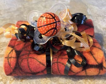Basketball Dribble Pacifier & Orange Reversible Burp Cloth Gift Set - Ready to Ship by PiquantDesigns