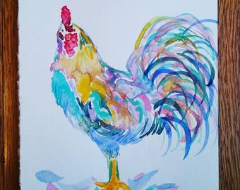 """Rooster watercolor painting (5""""x7"""")"""