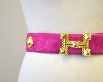 1980s Donna Katz Hot Pink Suede Belt