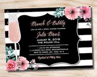 Brunch and Bubbly Bridal Floral Stripe Shower Invitation, Glitter Bridal Shower Invitation - Printable digital file or printed invitations