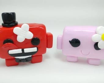 Super Meat Boy Cake Toppers - Custom Wedding Cake Topper - Wedding - Party - Cake - Keepsake