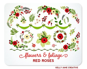 Red Roses Flowers & Wreaths Clip Art | Valentine's Day Roses | Greenery and Florals | Botanical Graphics - Includes EPS Vectors