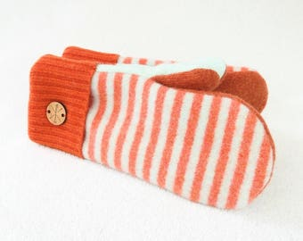 Sweater Mittens MINT & ORANGE Green Salmon Coral Stripes Fleece Lined Wool Gloves Striped Mittens Gift for Her Under 50 by WormeWoole